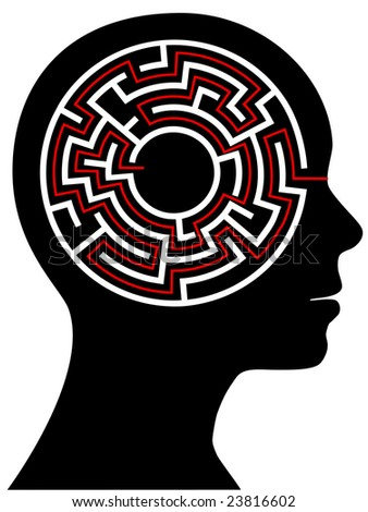 A circle radial maze puzzle as a brain in a profile person's head. - stock photo