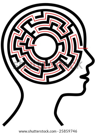 A circle radial maze puzzle as a brain in a profile person's head outline. - stock photo