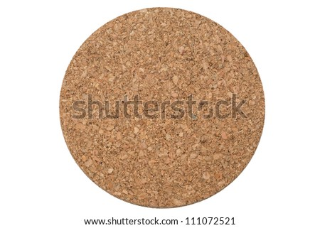 A circular cork trivet, viewed from directly above, isolated on a pure white background - stock photo