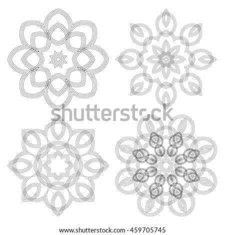 A circular pattern of repeating thin circles. Guilloche elements for certificate, diploma, voucher, currency and money design - stock photo