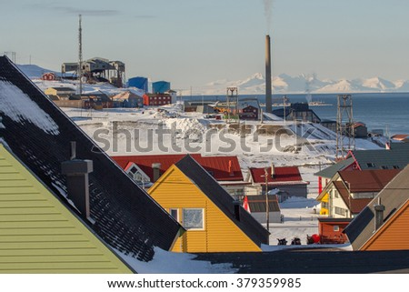A city details of Longyearbyen - the most Northern settlement in the world. Spitsbergen (Svalbard). Norway. - stock photo