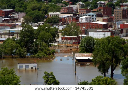 A city in Missouri that is submerged underwater. - stock photo
