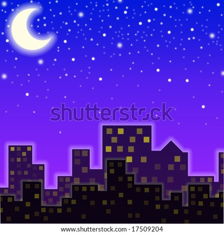 A city in the night - stock photo