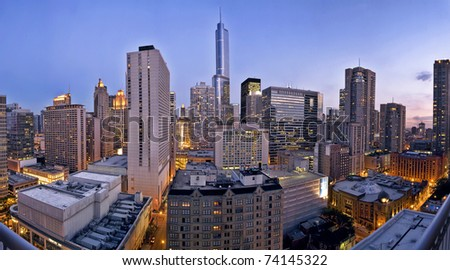 a city skyline at dusk, Chicago looking south - stock photo