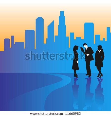 A city skyline is backdrop to three businesspeople - stock photo