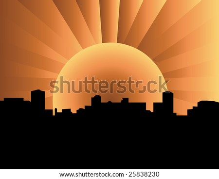 A city with glowing sun . - stock photo