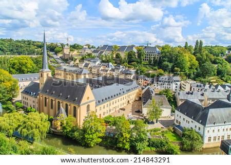A cityscape of Luxembourg city in Luxembourg - stock photo