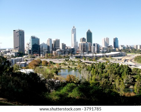 A cityscape of Perth in Western Australia - stock photo