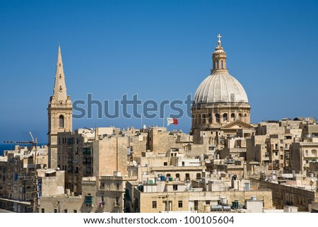 A cityscape of Valletta, the capital of Malta
