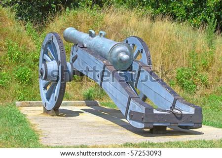 A civil war cannon in the yorktown virginia battlefield - stock photo