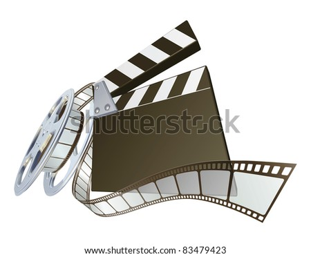 A clapperboard and film spooling out of film reel illustration. Dynamic perspective and copyspace on the board for your text. - stock photo