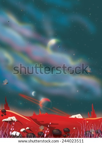 A classic alien planet, an alien planet with a large sky, in that sky are other planets among the floating alien clouds. - stock photo