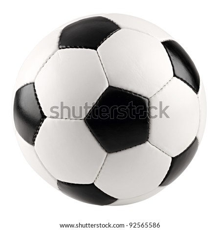 a classic black white soccer ball on white background - stock photo