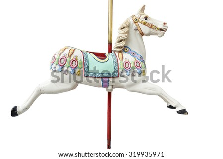 A classic carousel horse. Clipping path included. - stock photo