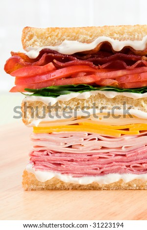 A classic club sandwich with ham, turkey, cheddar cheese, swiss cheese, lettuce, tomatoes, bacon, and lots of mayonnaise.