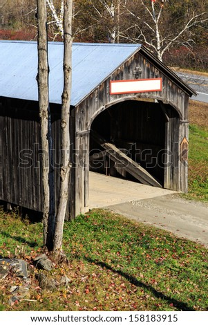 A classic covered bridge in Vermont with copy space. - stock photo