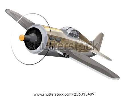 A classic golden prop aircraft, this is a single retro or classic propeller aircraft in flight. - stock photo
