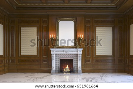 classic interior wood paneling picture frame stock illustration