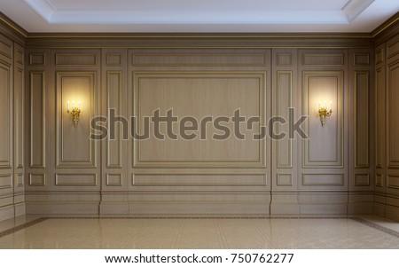 classic interior wood paneling parquet 3 d stock illustration