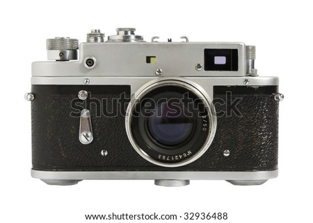 A classic manual film camera, on white. - stock photo
