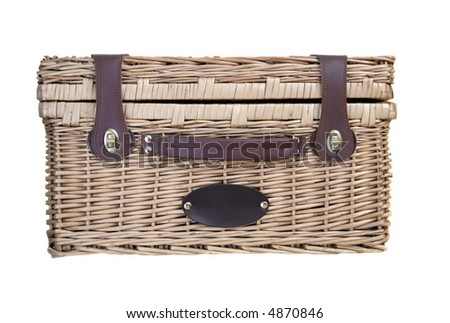 A classic picnic basket isolated on a white background - stock photo
