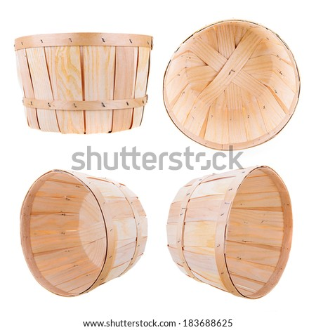A classic produce bushel basket isolated on white.  Includes four different perspective angles.