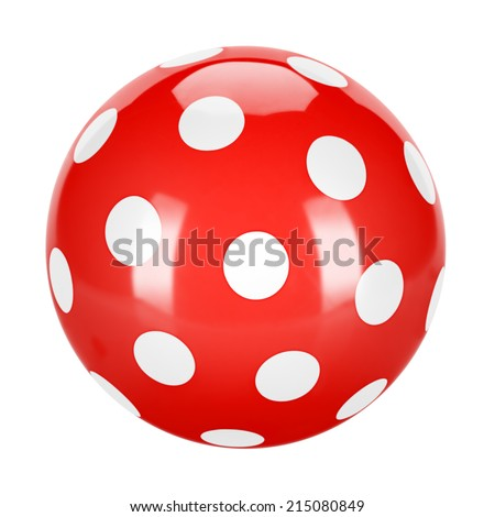A classic red ball with white dots, traditional children's games. Air-filled, elastic ball. - stock photo