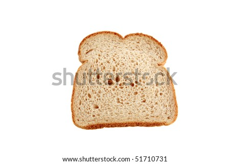 a classic slice of whole wheat bread isolated on white