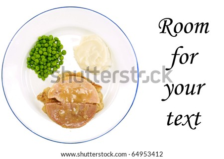 A classic TV Dinner on a white plate with a blue edge, consisting of Turkey, Stuffing, Gravy, Green Peas, and Mashed Potatoes. isolated on white with room for your text - stock photo