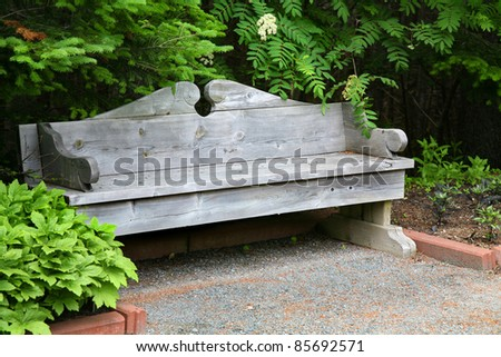 A classic wooden park bench surrounded by foliage in a quiet garden.