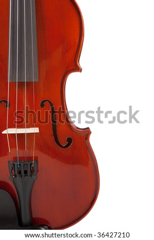 A classic wooden violin on a white background with copy space
