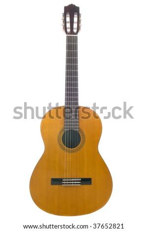 A classical guitar isolated on a white background - stock photo