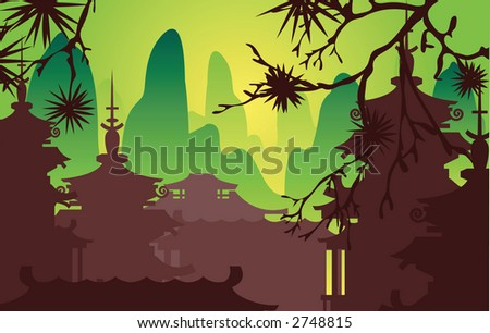 a classical Japanese scene, raster version - stock photo