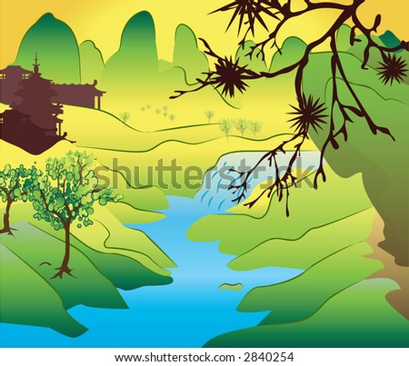 a classical Japanese scene. Raster version - stock photo