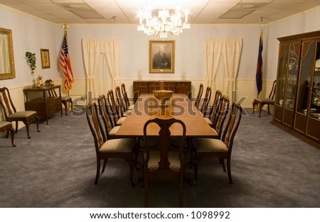 A classical meeting room from the 1950's. - stock photo