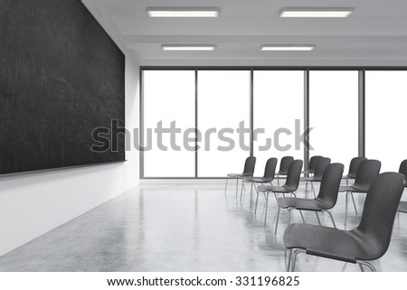 A classroom or presentation room in a modern university or fancy office. Black chairs, a black chalkboard on the wall and panoramic windows with white copy space. 3D rendering.