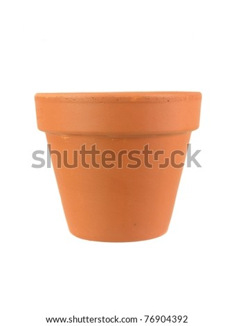 A clay pot isolated against a white background - stock photo