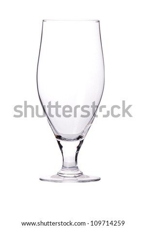 a clean beer glass isolated on white background