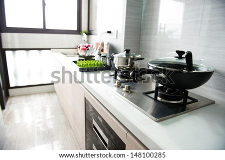 A clean modern kitchen in a modern home - stock photo
