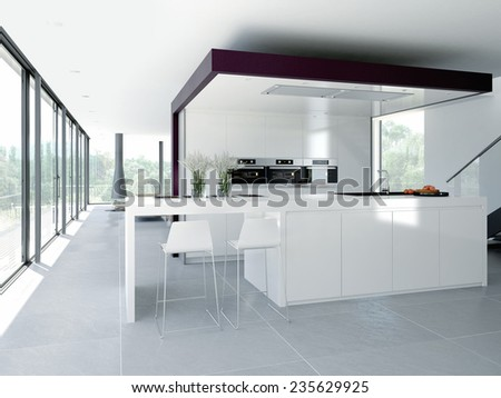 a clean modern kitchen interior. design concept. 3d rendering - stock photo