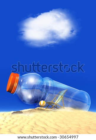 A clear bottle containing a deckchair and beach ball within show against a tropical blue sky with room to drop in text. - stock photo
