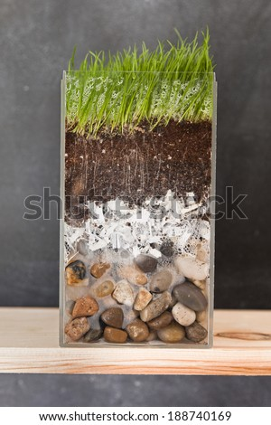 A clear container shows a cross section of pebbles, shredded paper, dirt and grass in front of a blackboard. - stock photo