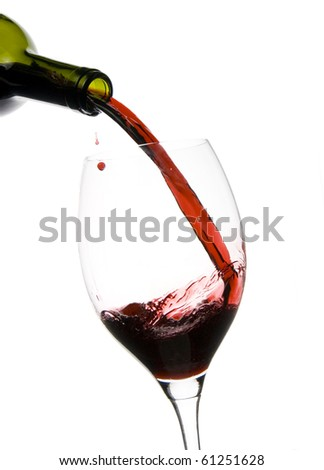 a clear glass of red wine isolated on white background - stock photo