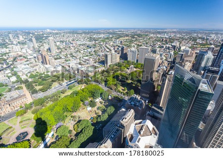 A clear sunny day in Sydney, looking east towards Hyde Park. - stock photo