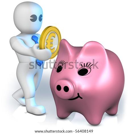 A clever man gather euros into piggy bank - stock photo