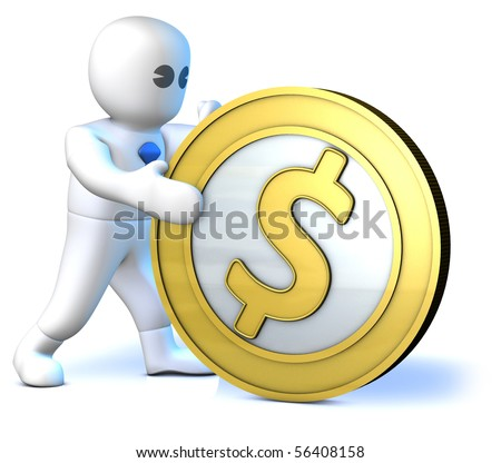 A clever man rolling a big gold dollar - stock photo