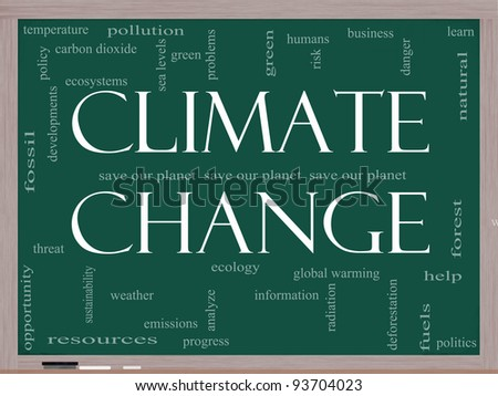 A Climate Change word cloud concept on a blackboard with terms such as save, planet, global, warming, green and more. - stock photo