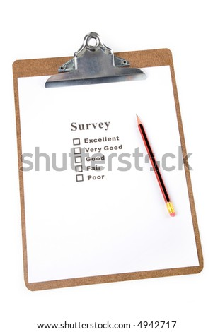 a Clipboard and questionnaire with white background