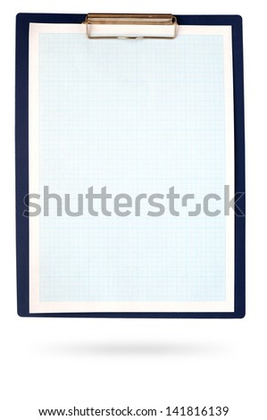 A clipboard complete with blue graph paper on white - stock photo