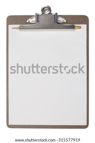 A clipboard with a white paper pad and pencil. Isolated on white.